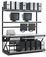 kendall howard 5000-3-200-72 72 inch lan station with full bottom shelf